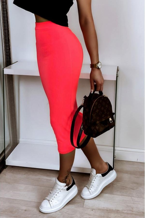 Neonowo różowa ołówkowa dopasowana spódnica midi Alix