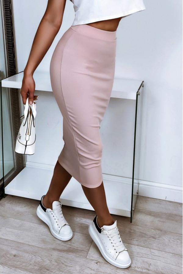 Pudrowo różowa ołówkowa dopasowana spódnica midi Alix