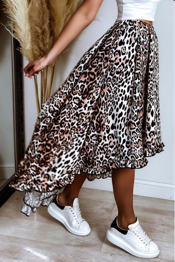 Panterkowa asymetryczna spódnica rozkloszowana z falbanką midi Cerise