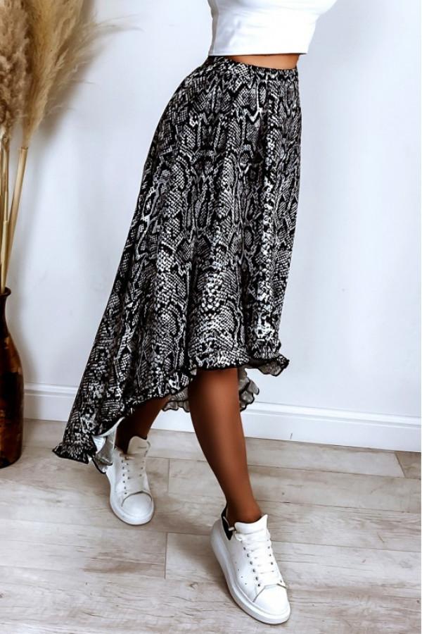 Czarna wężowa asymetryczna spódnica rozkloszowana z falbanką midi Cerise