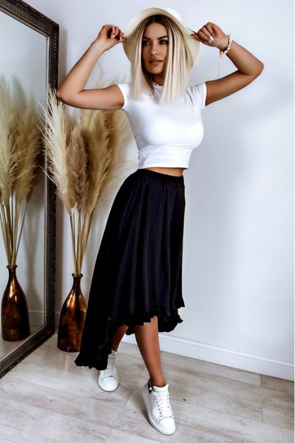 Czarna asymetryczna rozkloszowana spódnica z falbankami boho midi Coraline