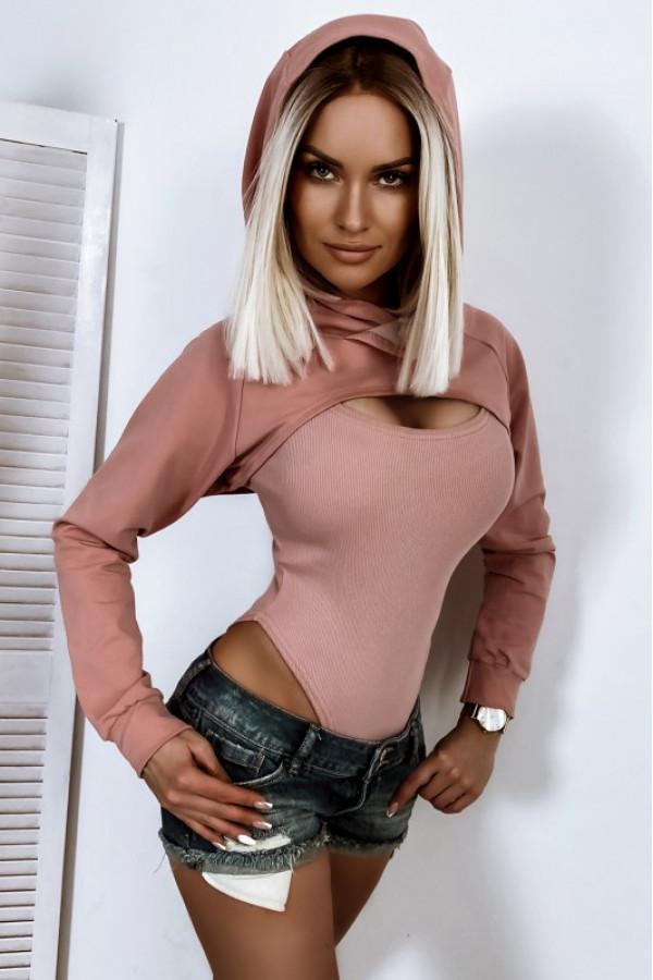 Brudno różowa bluza narzutka crop top z kapturem Danièle