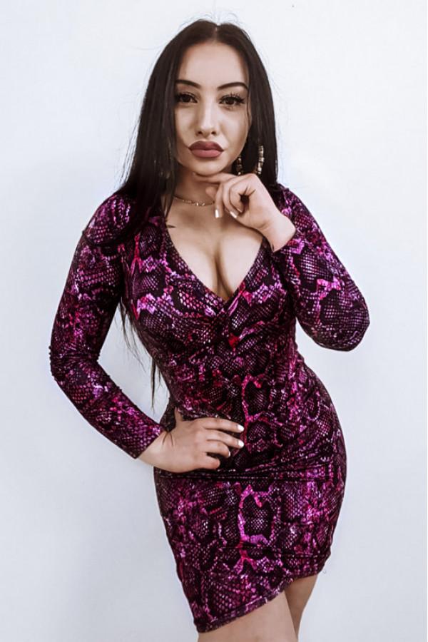 Fuksjowa wężowa dopasowana sukienka V-Neck z długim rękawem Joceline