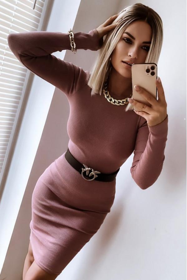 Brudno różowa dopasowana sukienka midi Marlène