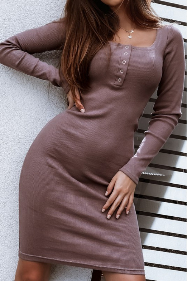 Ciemnobrązowa dopasowana sukienka V-Neck midi Mélissa