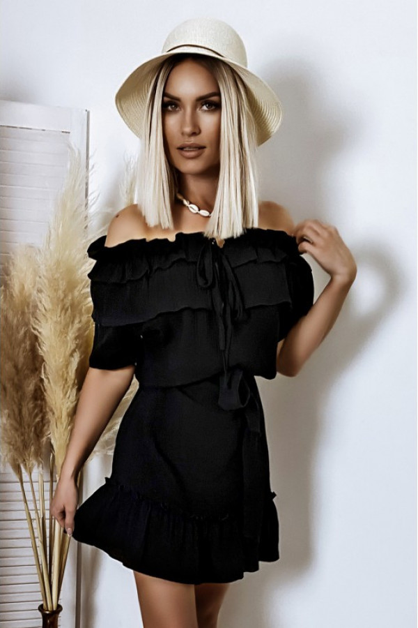 Czarna sukienka hiszpanka z falbankami boho Ophélie