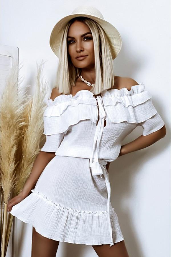 Biała sukienka hiszpanka z falbankami boho Ophélie