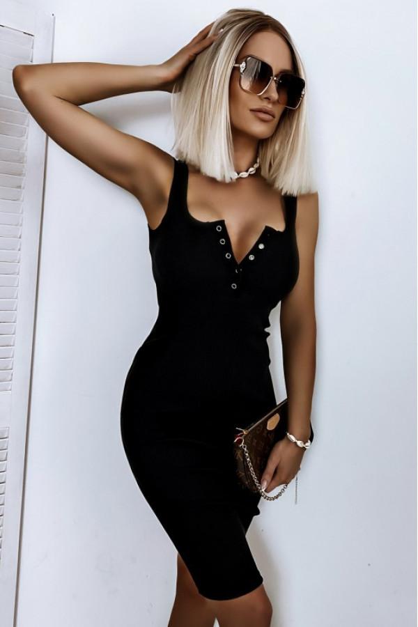 Czarna dopasowana sukienka V-Neck Alexis