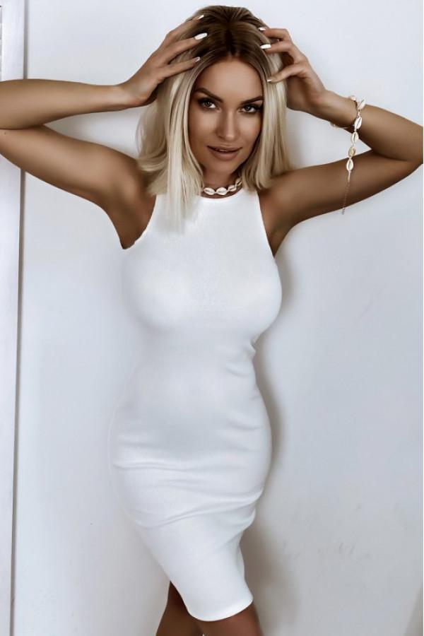 Ecru dopasowana prążkowana sukienka na ramiączkach Anny