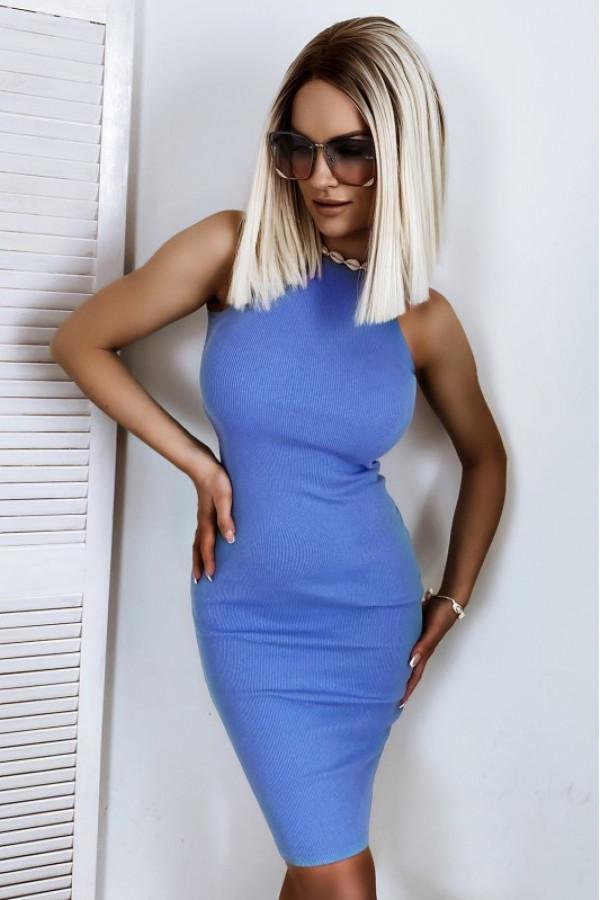 Niebieska dopasowana prążkowana sukienka na ramiączkach Anny