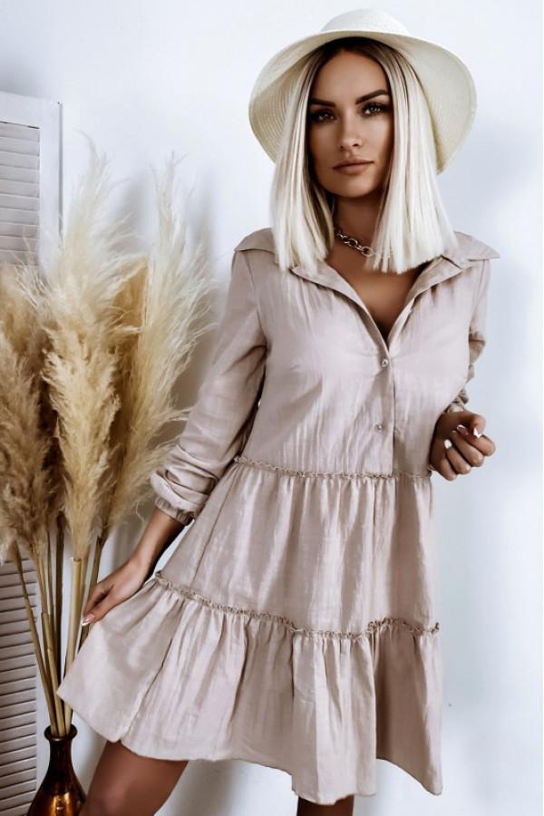 Beżowa bawełniana rozkloszowana sukienka z bufiastymi rękawami Céline