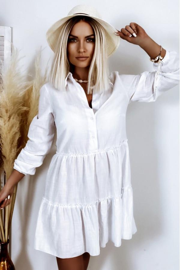 Biała bawełniana rozkloszowana sukienka z bufiastymi rękawami Céline