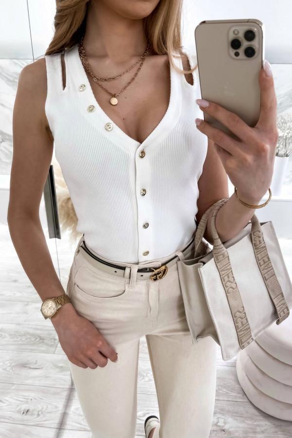 Biały prążkowany top V-Neck z guzikami Diane