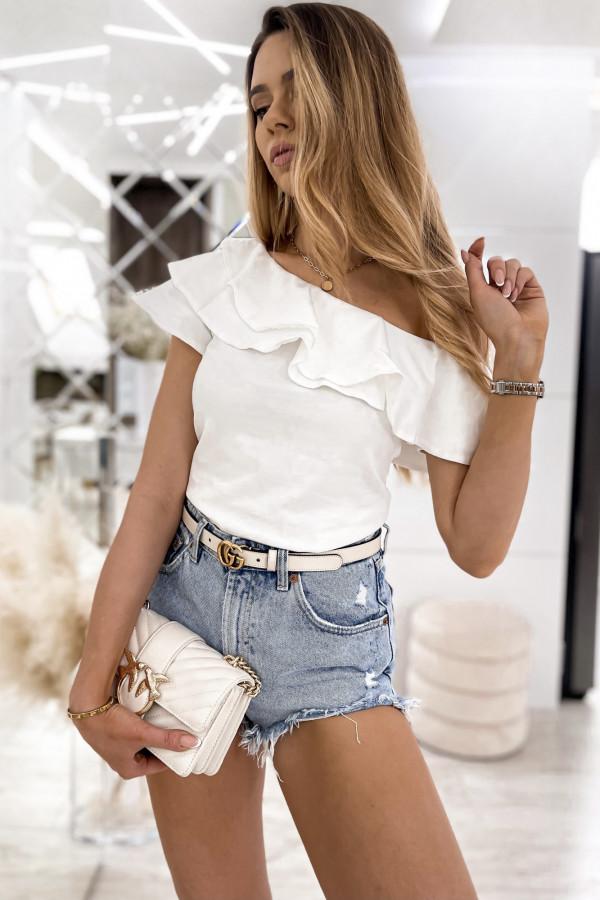 Biała bluzka z falbankami hiszpanka Amalia