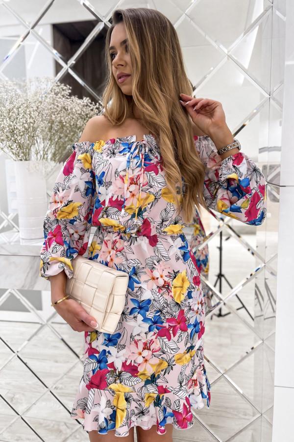 Kolorowa kwiatowa sukienka hiszpanka z falbankami Celeste