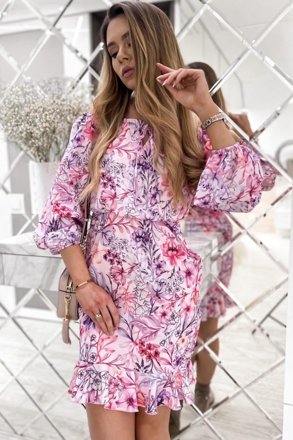 Różowa kwiatowa sukienka hiszpanka z falbankami Celeste