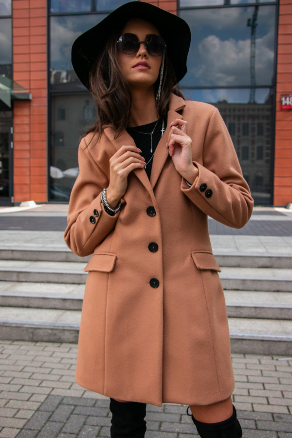 Beżowy płaszcz jednorządowy midi Clarissa