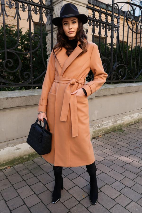 Beżowy długi płaszcz damski z wiązaniem Corinna