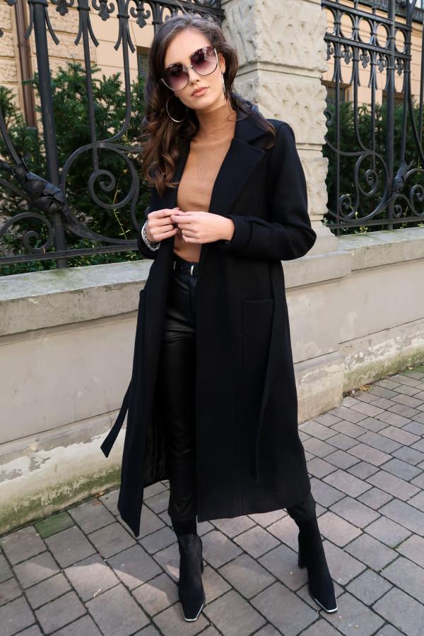Czarny długi płaszcz damski z wiązaniem Corinna