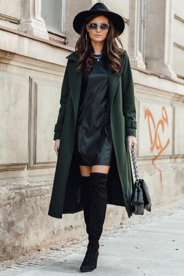 Butelkowo zielony długi płaszcz damski z wiązaniem Corinna