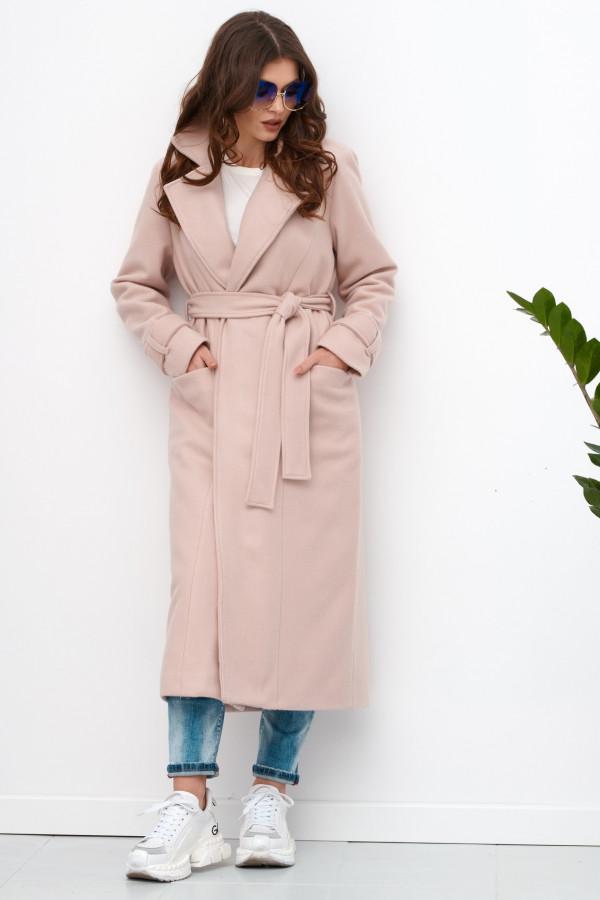 Jasnoróżowy długi płaszcz damski z wiązaniem Corinna