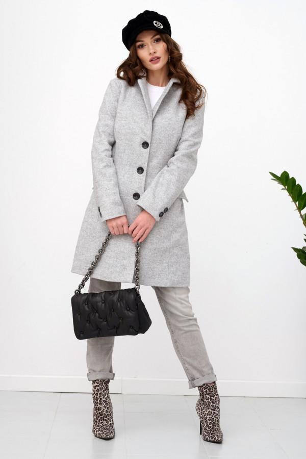 Szary klasyczny jednorzędowy płaszcz Diana