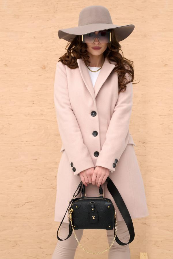 Jasnoróżowy klasyczny jednorzędowy płaszcz Diana