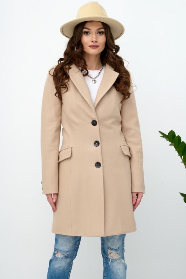 Beżowy klasyczny jednorzędowy płaszcz Diana