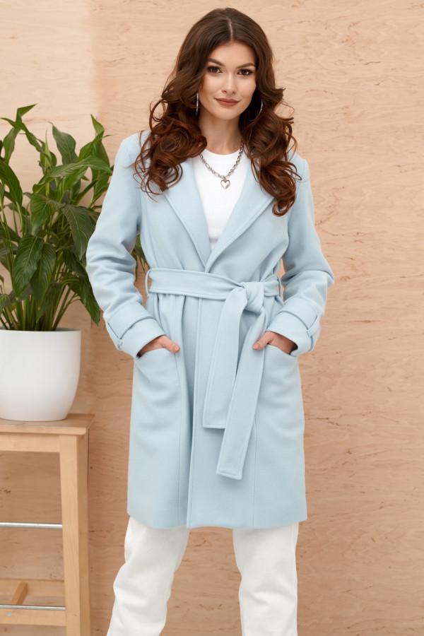 Jasnoniebieski klasyczny płaszcz z wiązaniem Elena