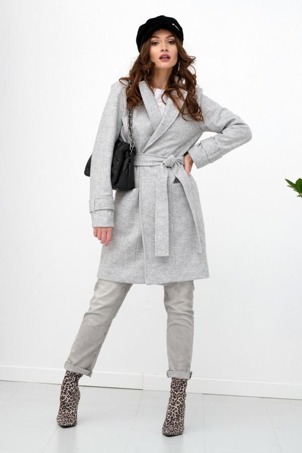 Szary klasyczny płaszcz z wiązaniem Elena
