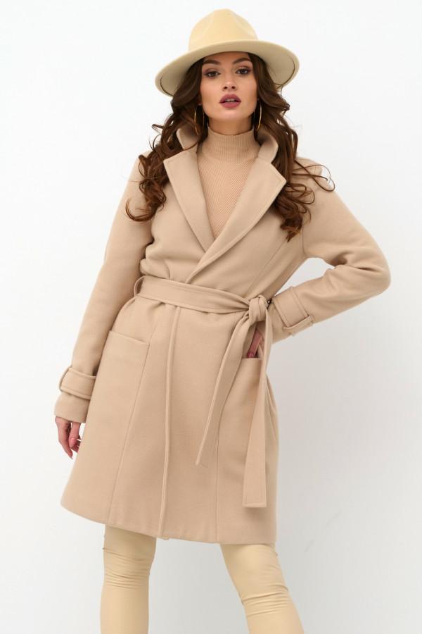 Beżowy klasyczny płaszcz z wiązaniem Elena