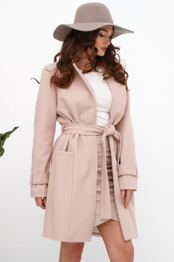 Jasnoróżowy klasyczny płaszcz z wiązaniem Elena