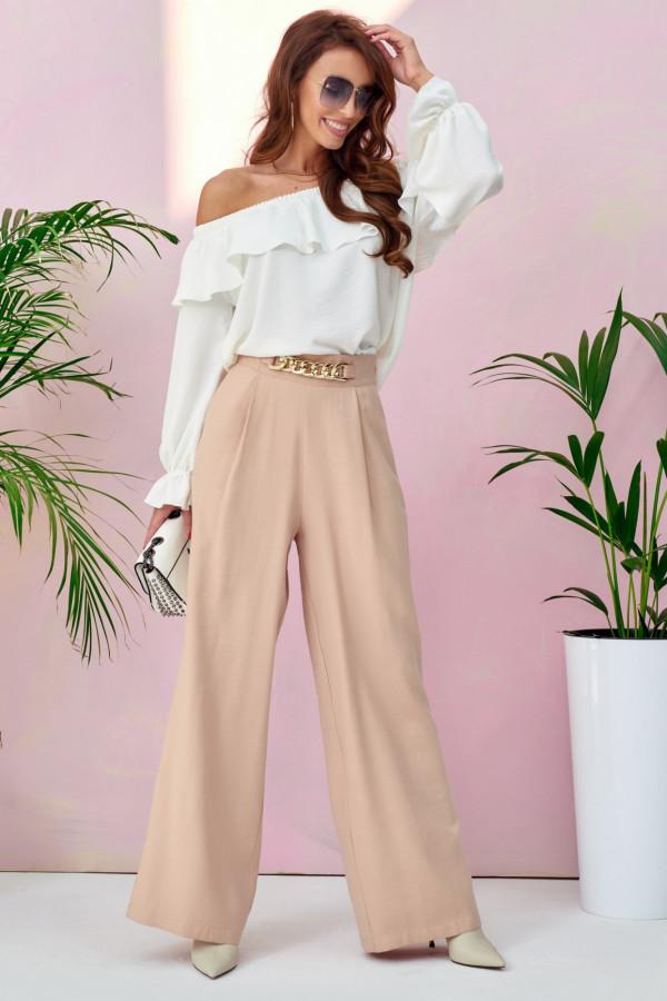 Beżowe materiałowe luźne spodnie z łańcuszkiem Giada