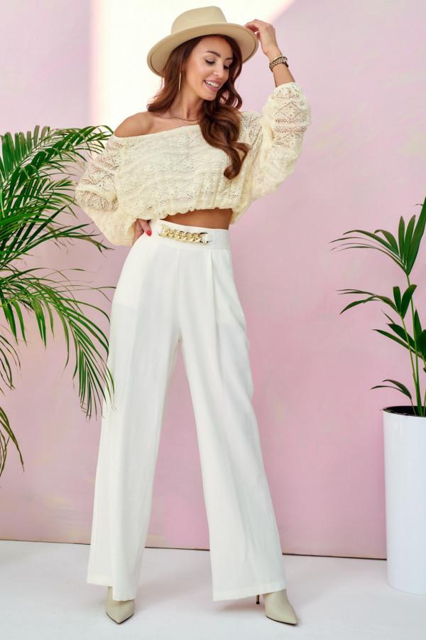 Ecru materiałowe luźne spodnie z łańcuszkiem Giada