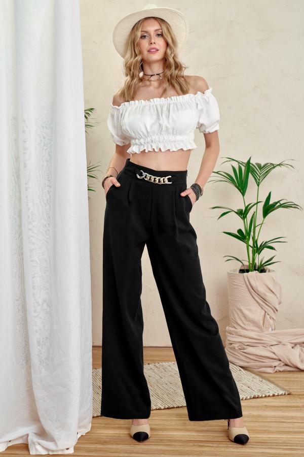 Czarne materiałowe luźne spodnie z łańcuszkiem Giada