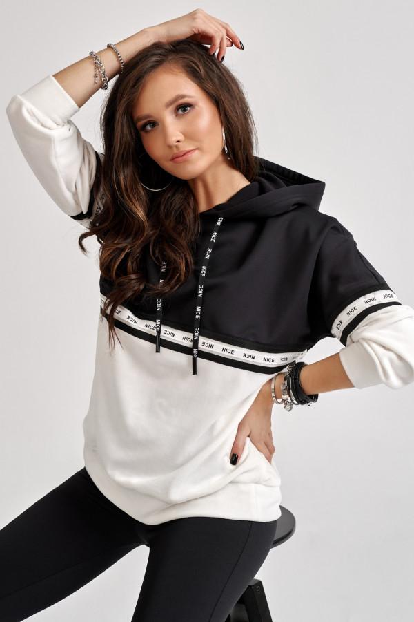 Czarno-biała bluza z kapturem Vice