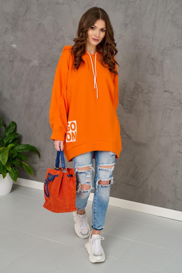 Pomarańczowa długa bluzka z kapturem Go On