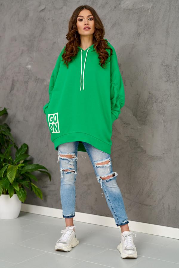 Zielona długa bluzka z kapturem Go On
