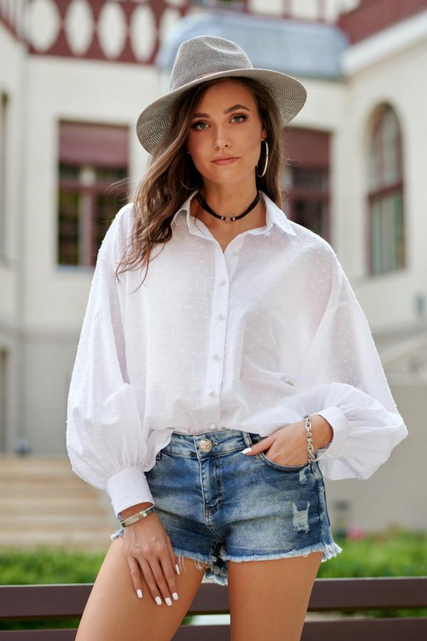 Biała bawełniana koszula oversize z haftowanymi kropkami Alex