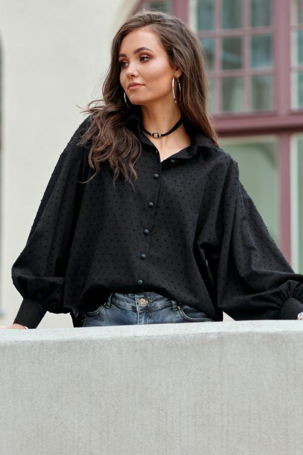 Czarna bawełniana koszula oversize z haftowanymi kropkami Alex