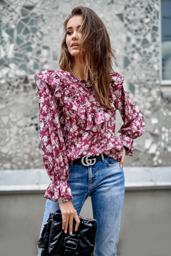 Fuksjowa kwiatowa bluzka z falbankami Alice