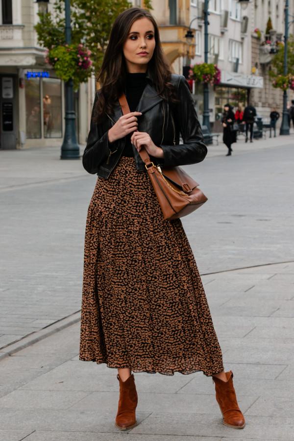 Karmelowa panterkowa rozkloszowana spódnica maxi Avril