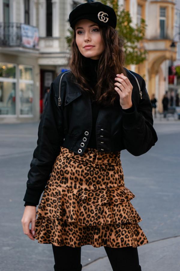 Panterkowa rozkloszowana spódniczka mini z falbankami Brigitte