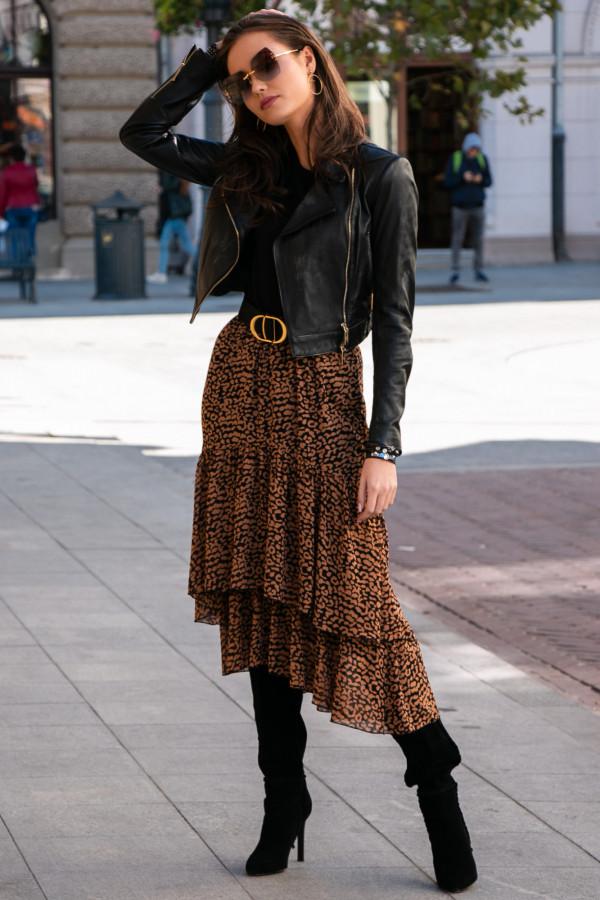 Panterkowa asymetryczna rozkloszowana spódnica z falbankami midi Carole