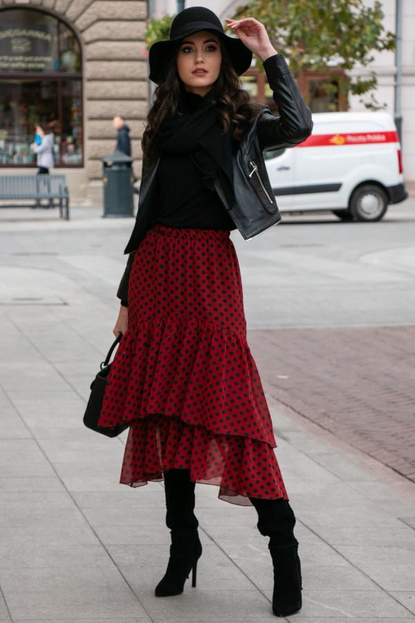 Bordowa asymetryczna rozkloszowana spódnica z falbankami w groszki midi Carole