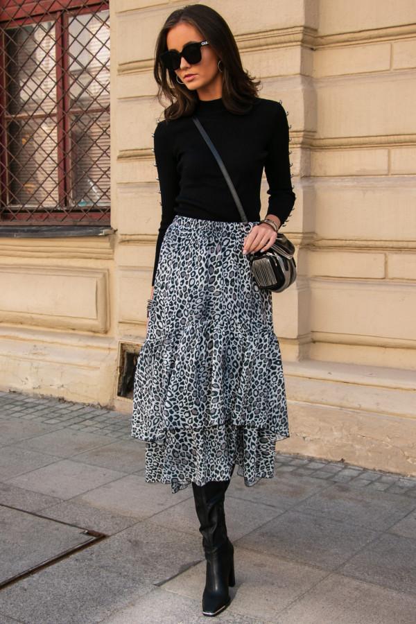 Szara panterkowa asymetryczna rozkloszowana spódnica z falbankami midi Carole