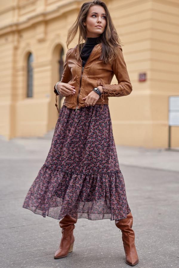Fioletowa kwiatowa spódnica midi z falbanką Cerise