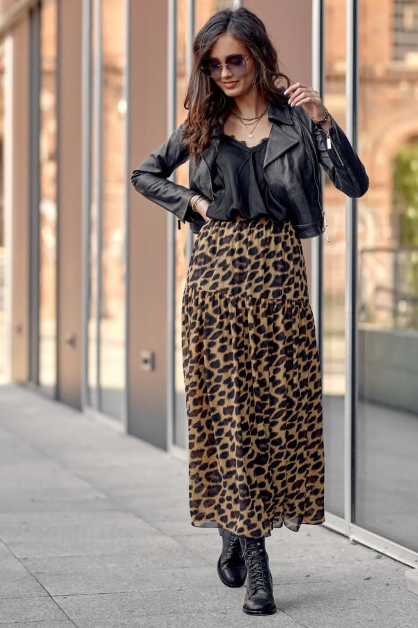 Brązowa panterkowa rozkloszowana spódnica maxi Avril