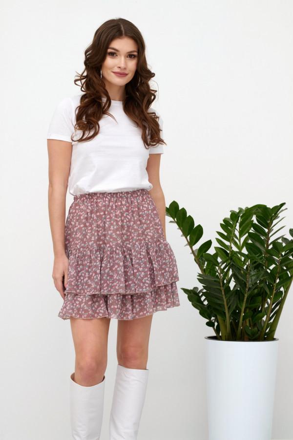 Wrzosowa kwiatowa rozkloszowana spódnica z falbankami mini Fanny
