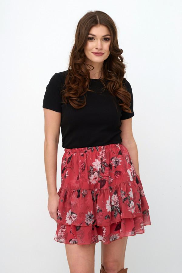 Czerwona kwiatowa rozkloszowana spódnica z falbankami mini Fanny